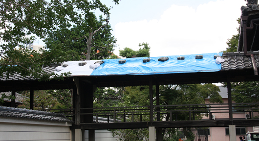 本堂の屋根瓦が飛ばされた